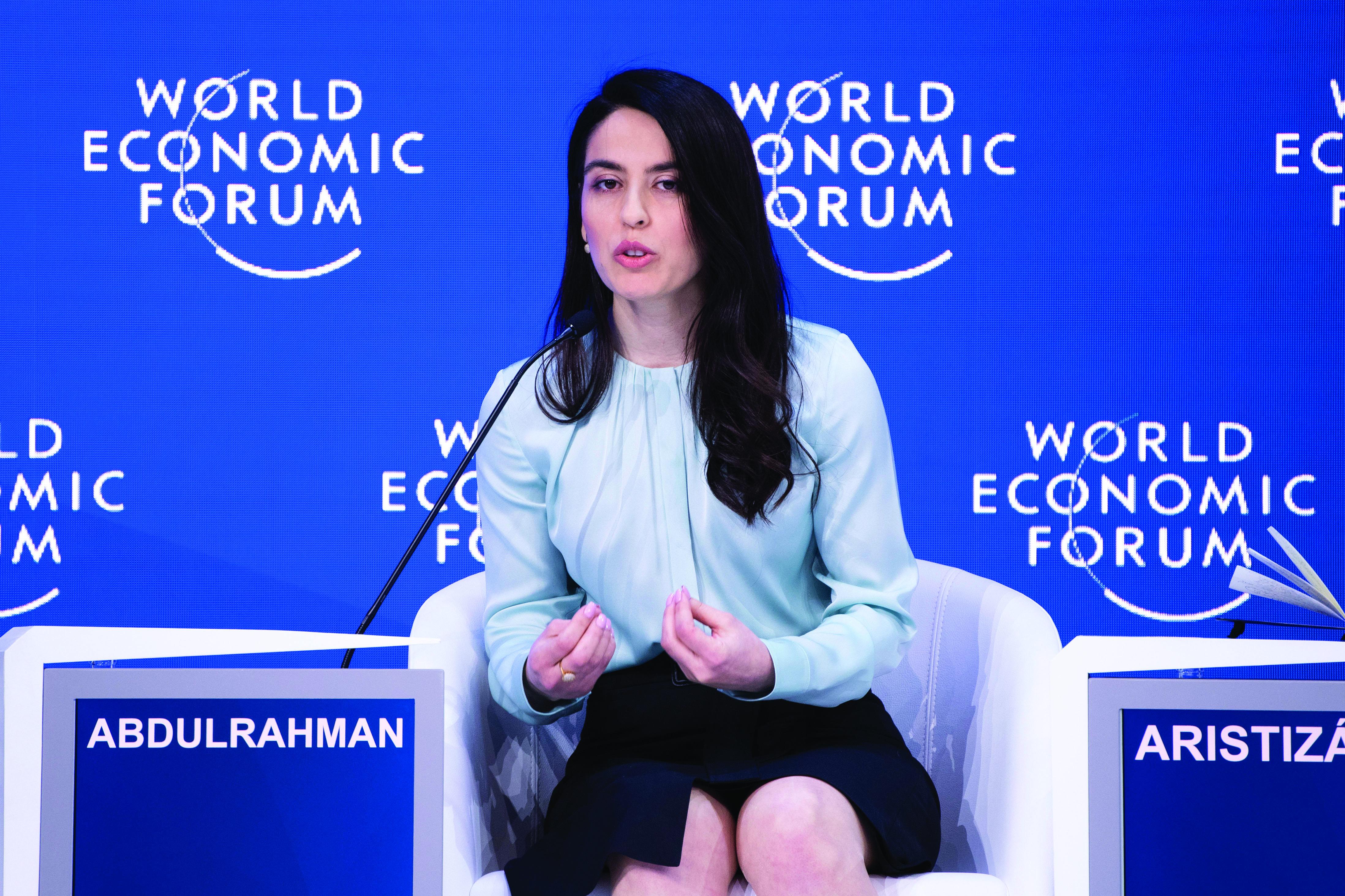 Basima Abdulrahman speaks at the World Economic Forum.
