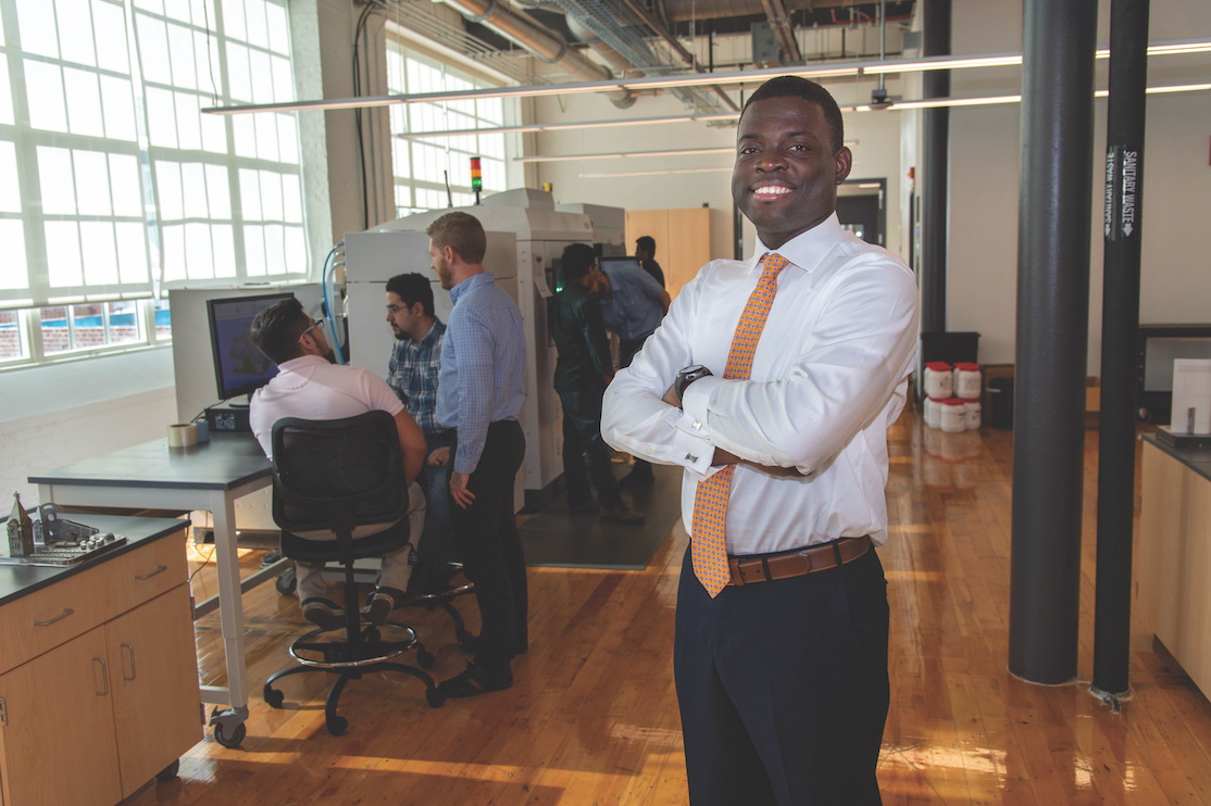 Emmanuel Winful poses inside the Gavin Engineering Research Lab.