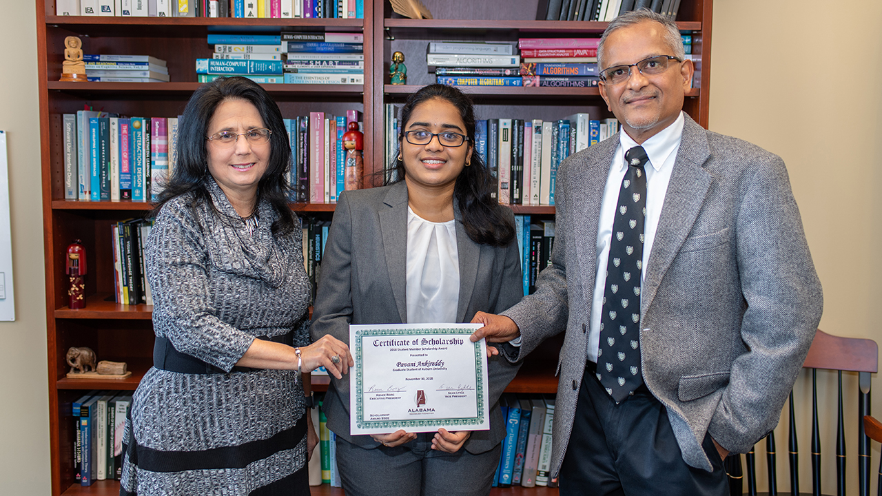 From left: Renee Borg, executive director of the Alabama Technology Foundation, Pavani Ankireddy and Hari Narayanan, chair of the Department of Computer Science and Software Engineering.