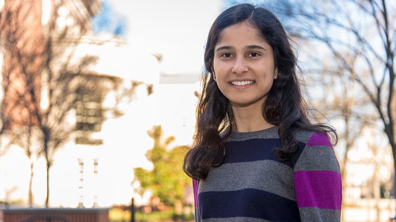 Mina Narayanan poses on the campus of Auburn University.
