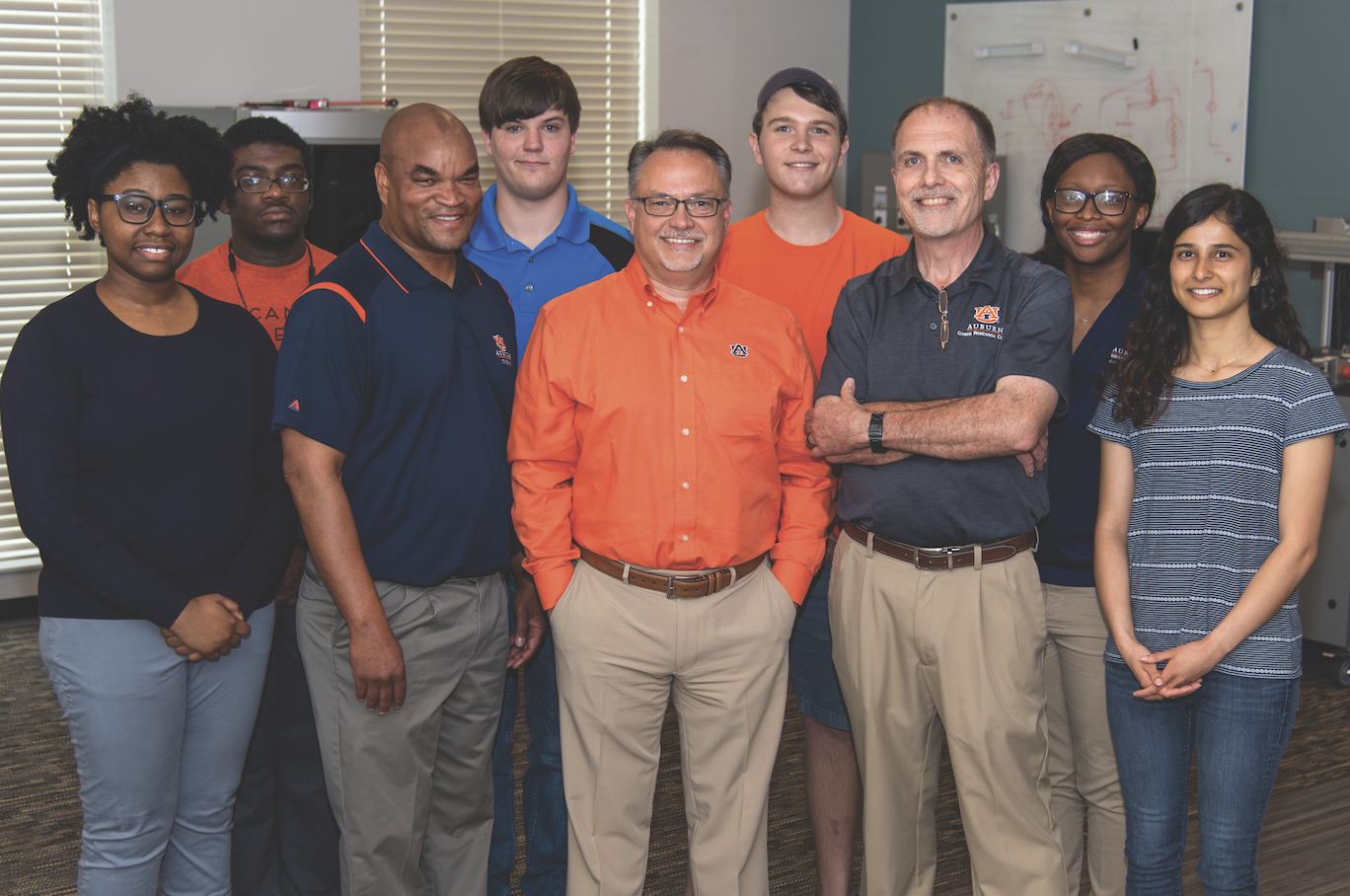 In addition to Cilluffo, Auburn's cyber research efforts are spearheaded by some of the most dynamic faculty and students in the nation, including (L-R) Sadaira Packer, Demarcus Campbell, Gerry Dozier, Dallan Healey, Dean Hendrix, Alex Lewin, David Umphress, Alexicia Richardson and Mina Narayanan.
